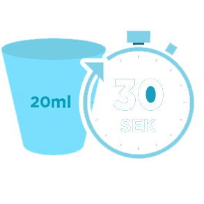 20ml Listerine<sup>®</sup> 30 Sekunden spülen